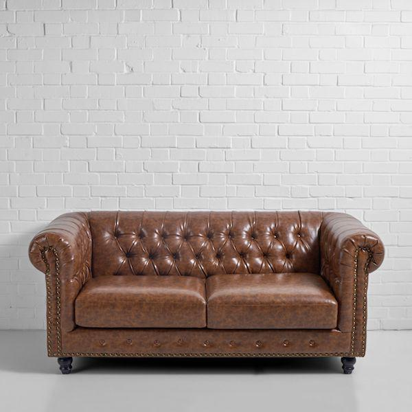 2 seater chesterfield brown