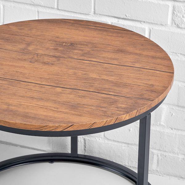 alberta round coffee table hire closeup