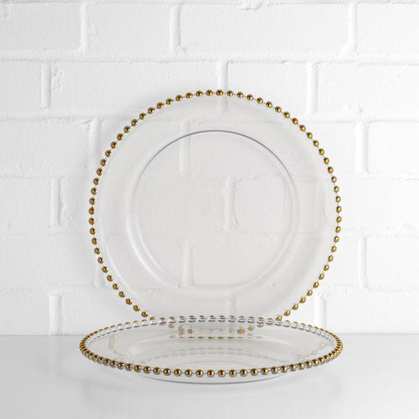 beaded charger plate gold
