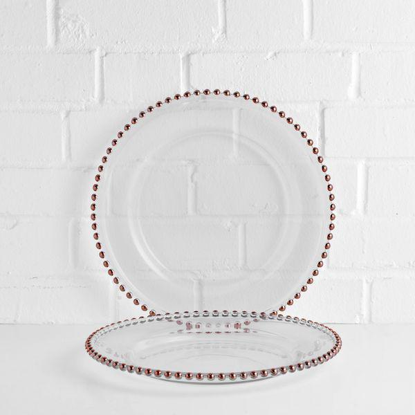 beaded charger plate hire rose gold