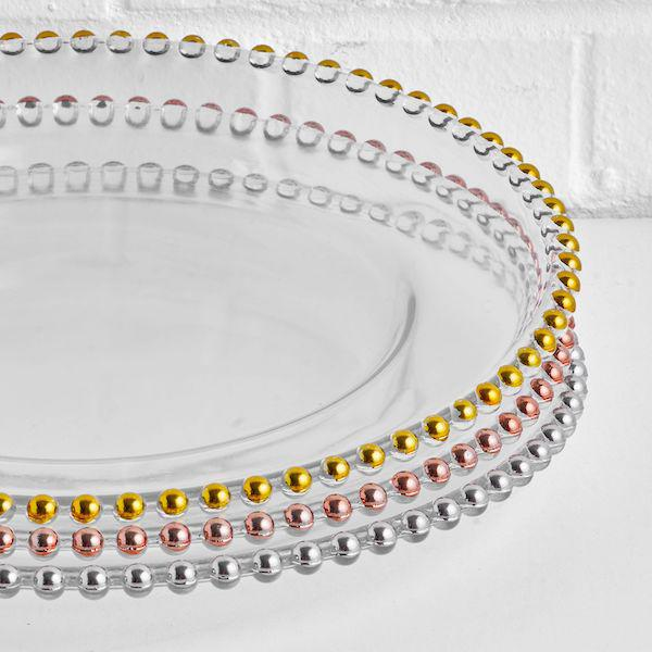 beaded charger plates stack