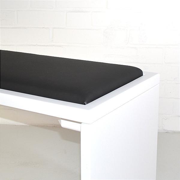 black cushion exhibition bench closeup
