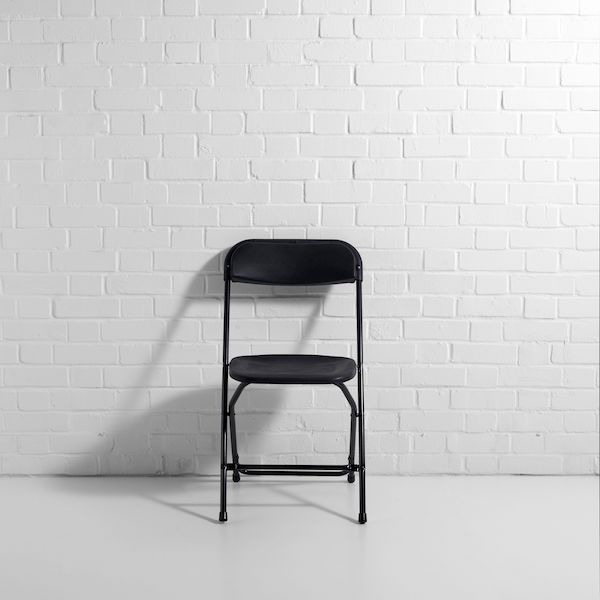 black folding chair front