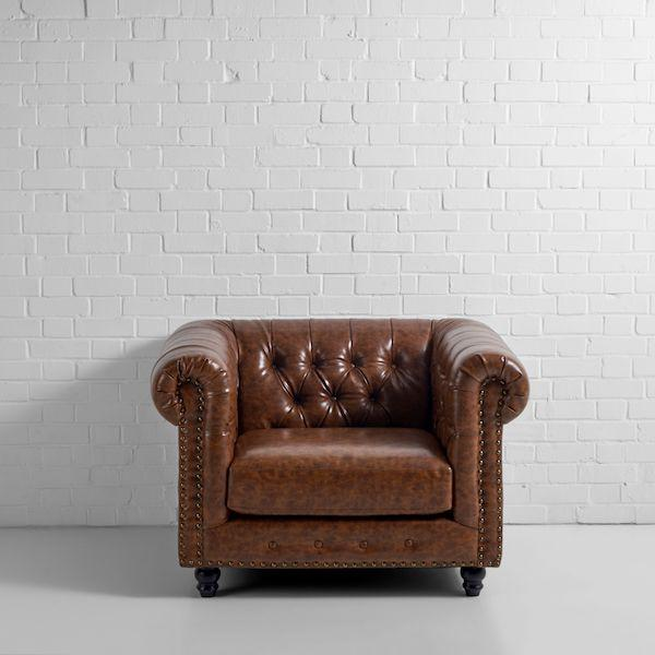 chesterfield armchair hire brown