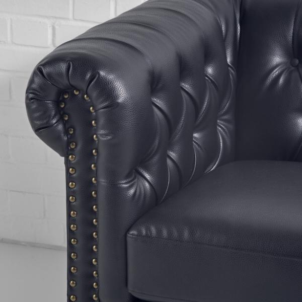 chesterfield sofa hire black closeup