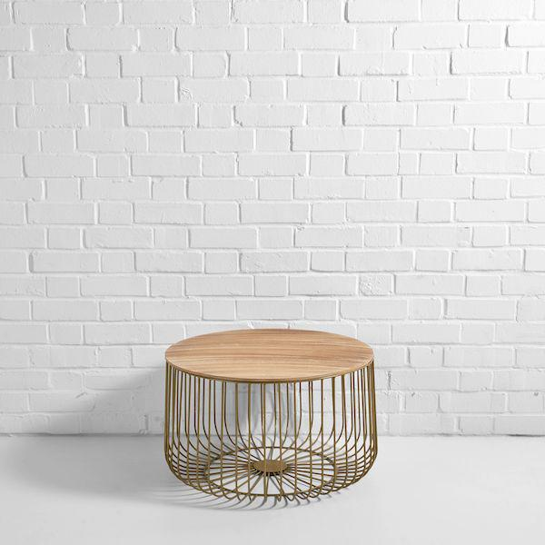 gold birdcage coffee table hire