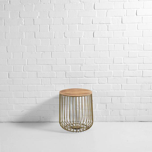 gold birdcage side table hire