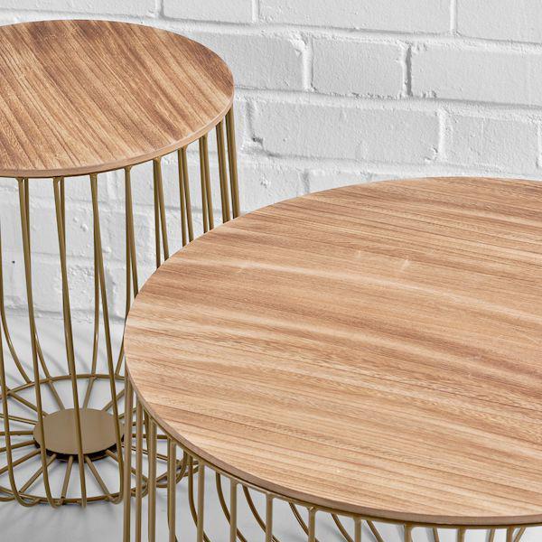 gold birdcage tables closeup