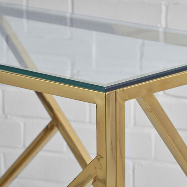 gold console table hire closeup