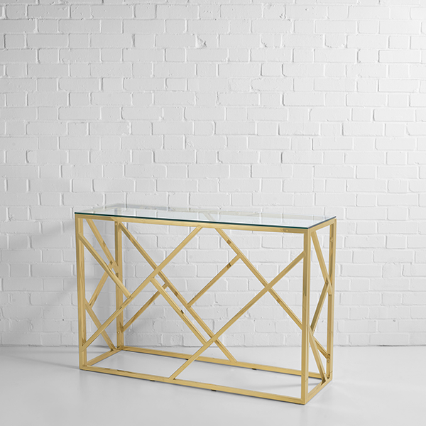 gold console table hire