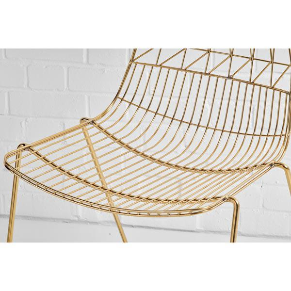 gold simplicity wire chair closeup