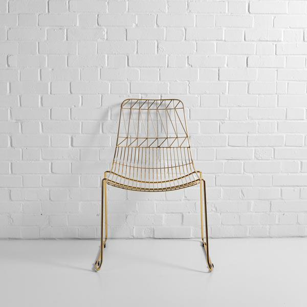 gold simplicity wire chair hire f
