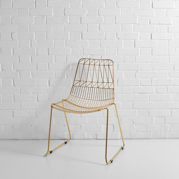 gold simplicity wire chair hire