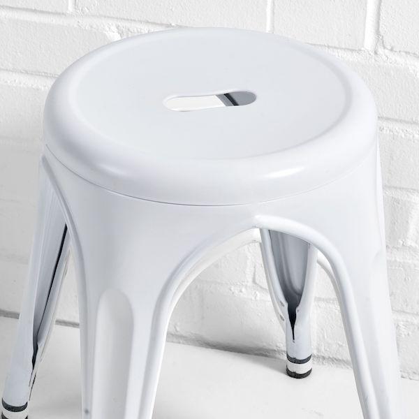 low metal stool white close