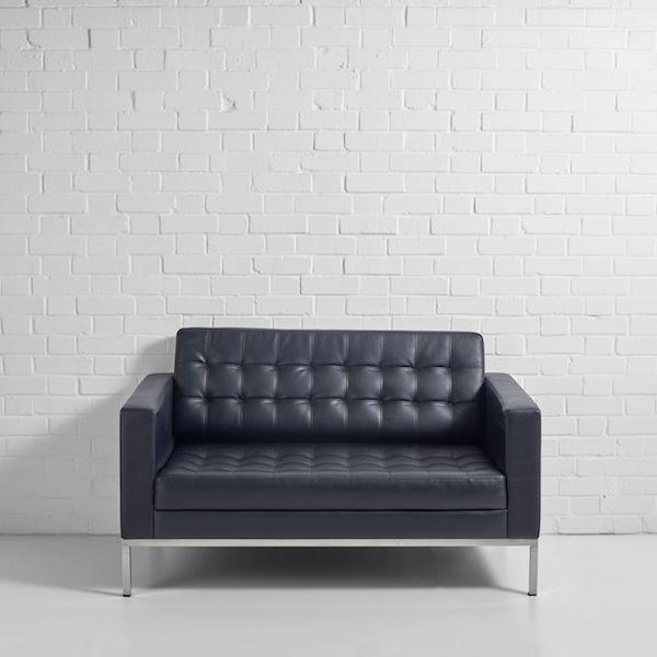 monaco 2 seater sofa hire black