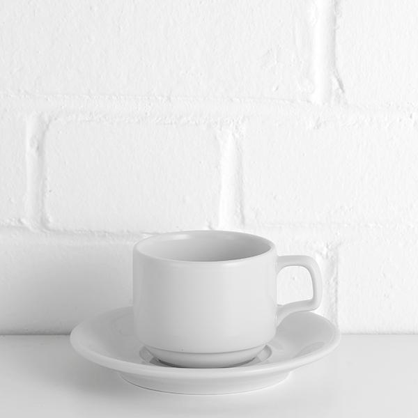 porcelite stacking cup with saucer