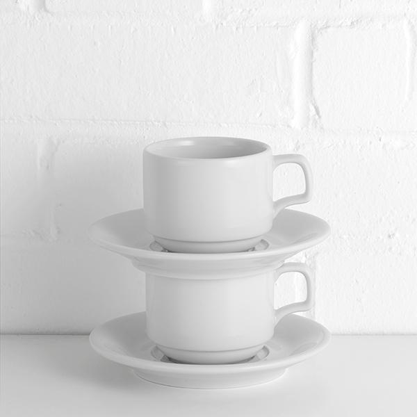 porcelite stacking cups with saucers hire