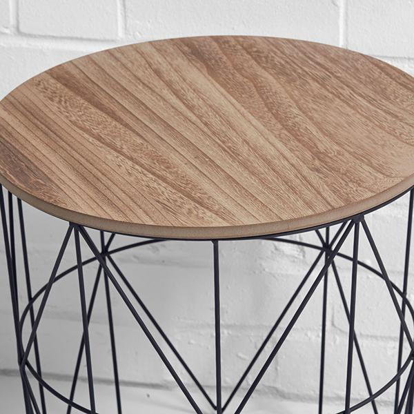 round cage side table hire closeup