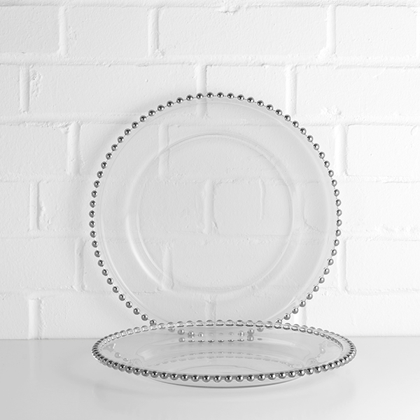 silver beaded charger plate hire