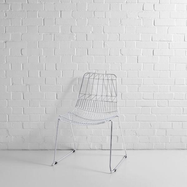 silver simplicity wire chair hire