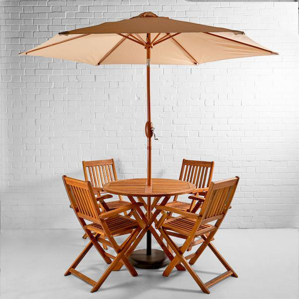 teak garden set hire umbrella open