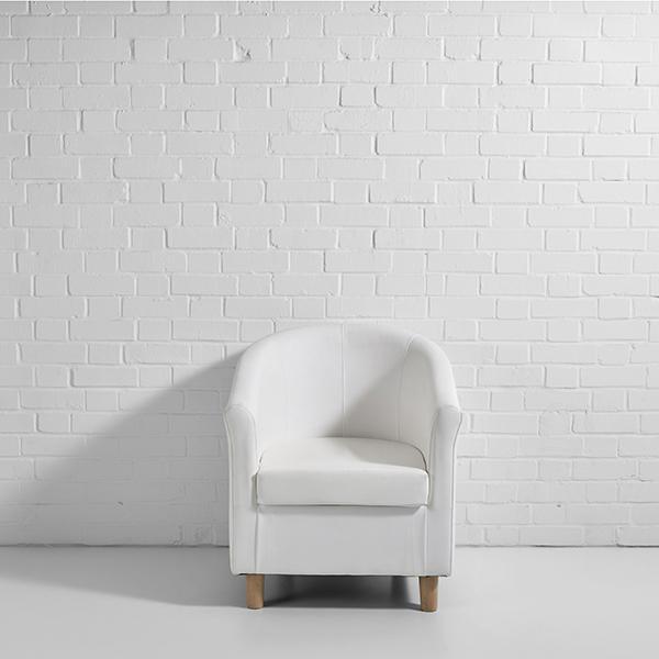 tub chair hire white