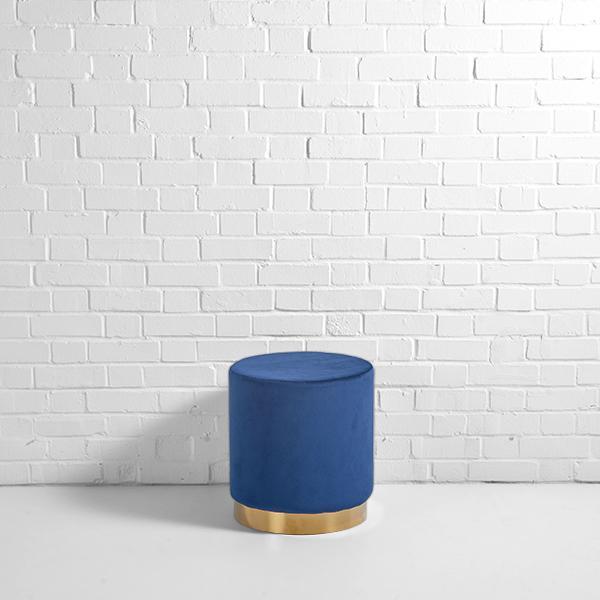 velvet pouffe hire blue