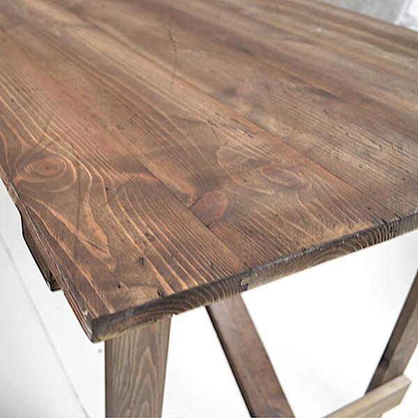 vintage trestle table closeup