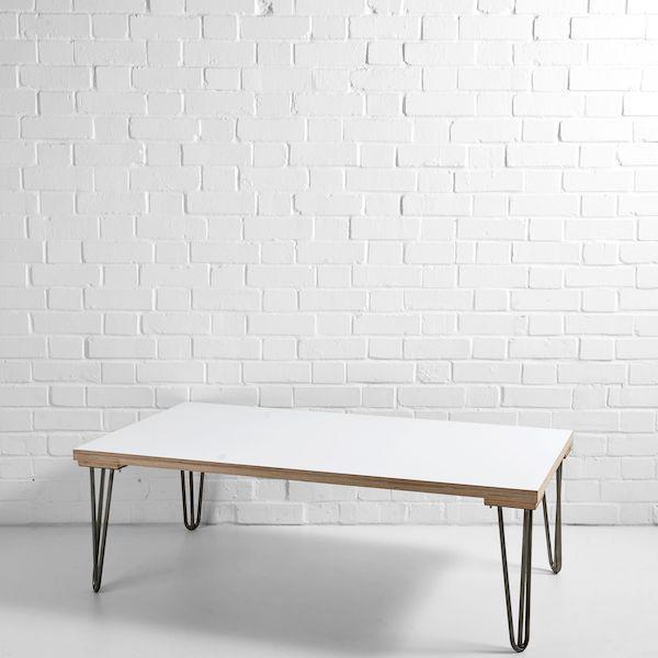 white scandi coffee table gunmetal legs
