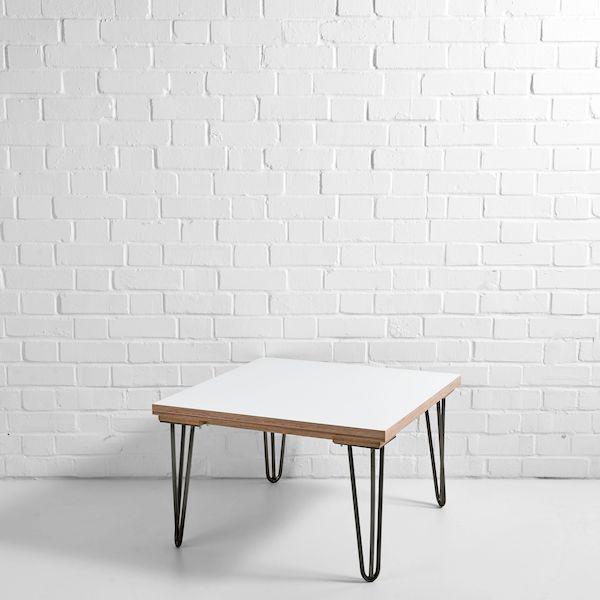 white scandi side table gunmetal legs
