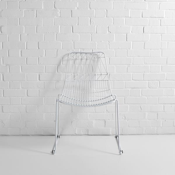 white simplicity wire chair hire f