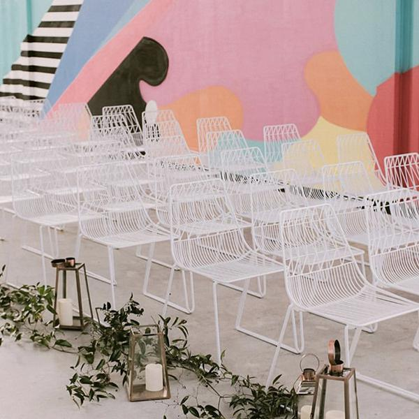 white simplicity wire chair hire in situ