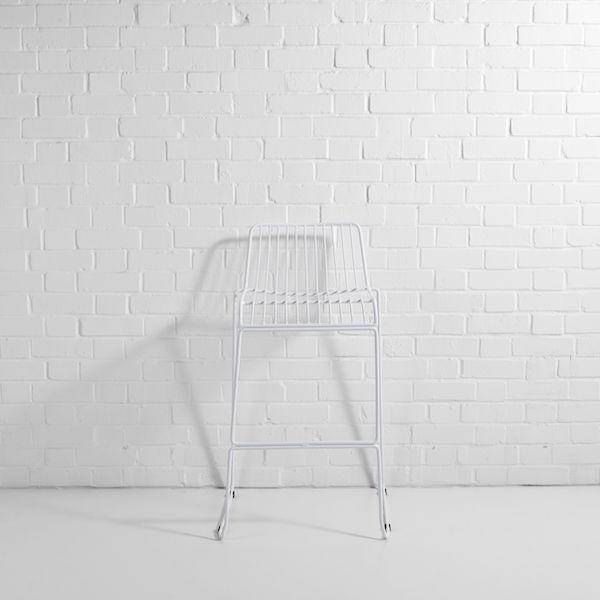 white steel wire bar stool