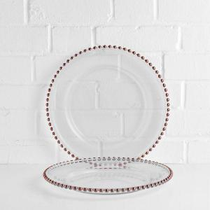 Beaded Charger Plate Rose Gold
